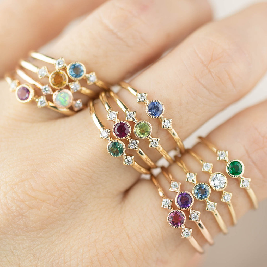 Star & Moon Birthstone Rings