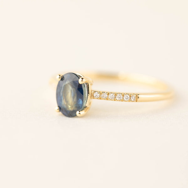 Audrey Ring - Teal Sapphire (One of a kind)