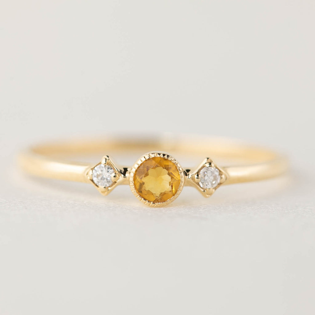 November -  Citrine Star Moon Ring