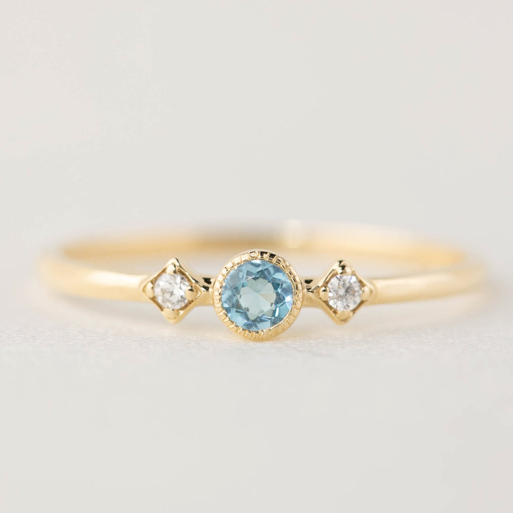 December -  Blue Topaz Star Moon Ring