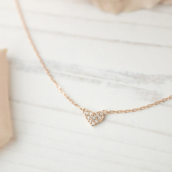 Pave Diamond Heart Necklace