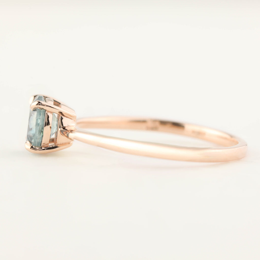 Nina Ring - 0.98ct Light Green Montana Sapphire, 14k Rose Gold (One of a kind)