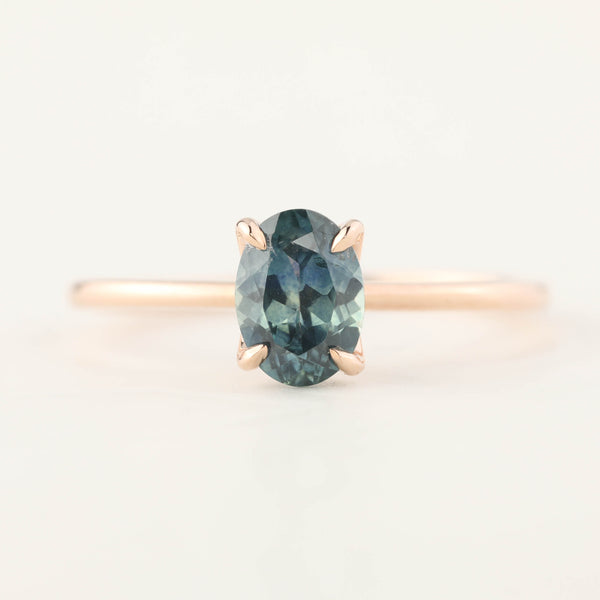 Sara Ring - 1.00ct Teal Blue Montana Sapphire, 14k Rose Gold (One of a kind)