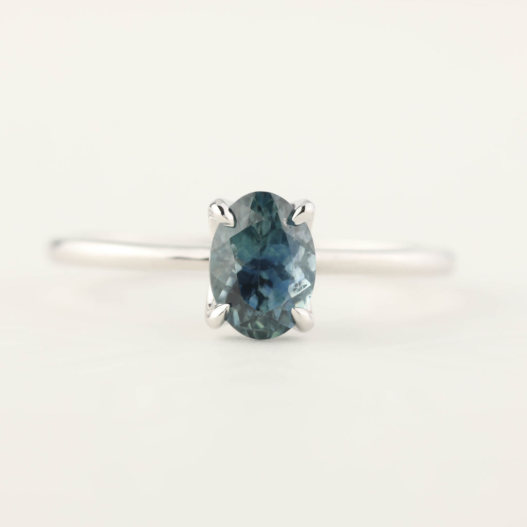 Sara Ring - 1.00ct Parti Blue Green Montana Sapphire, 14k White Gold (One of a kind)