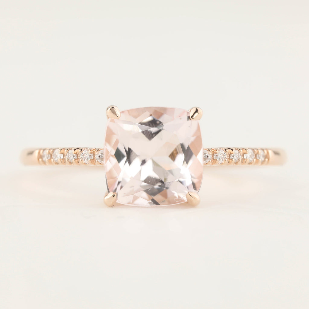 Audrey Ring -1.93ct Cushion Cut Soft Pink Morganite, 14k Rose Gold (One of a kind)