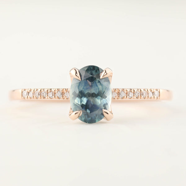 Maria Ring - 1.00ct Teal Blue Montana Sapphire 14k Rose Gold (One of a kind)