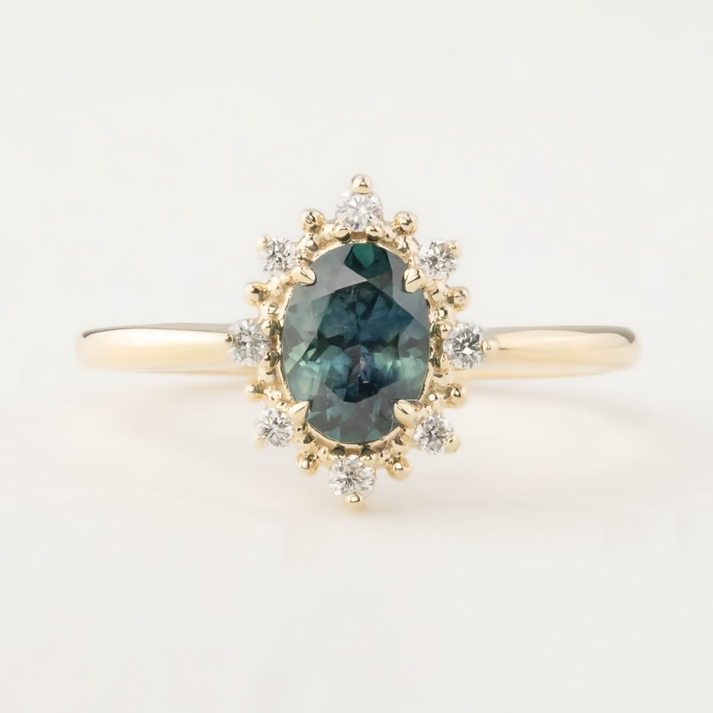 Victoria Ring - 0.92ct Peacock Montana Sapphire (One of a kind)
