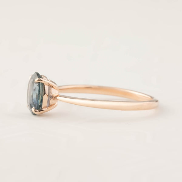 Nina Ring -1.24ct Teal Blue Montana Sapphire, 14k Rose Gold (One of a kind)