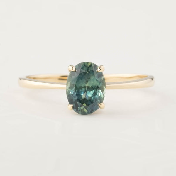 Nina Ring -1.29ct Parti Blue Green Montana Sapphire, 14k Yellow Gold (One of a kind)