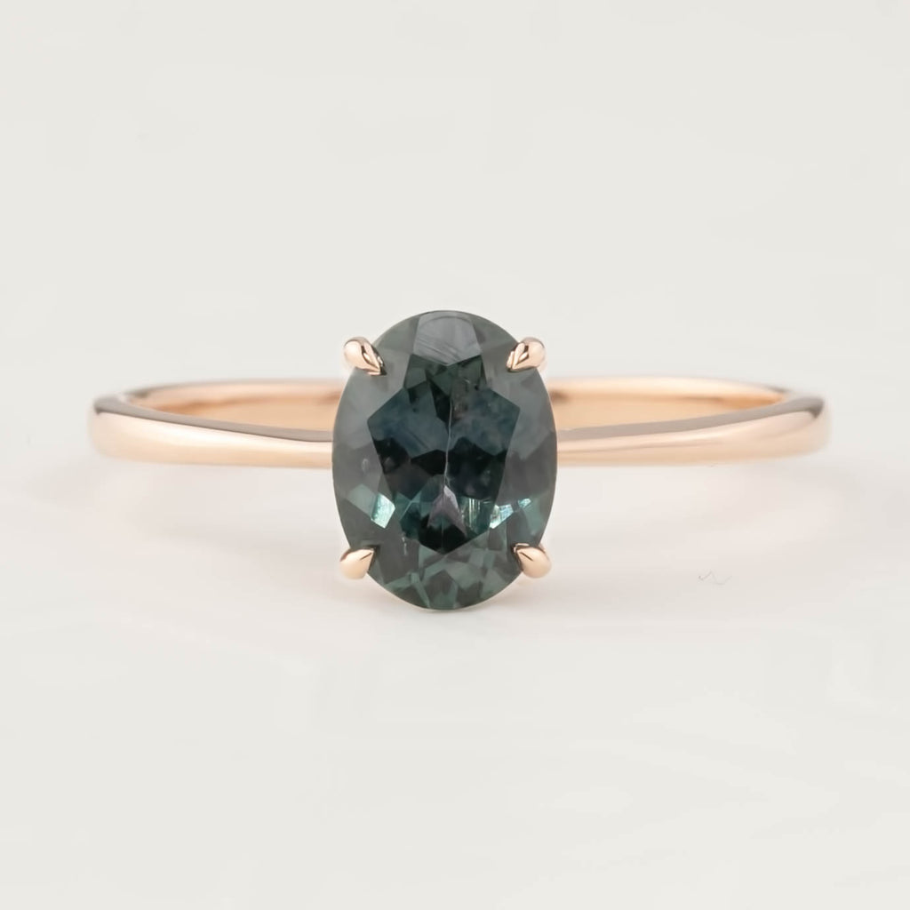 Nina Ring -1.53ct Peacock Montana Sapphire, 14k Rose Gold (One of a kind)