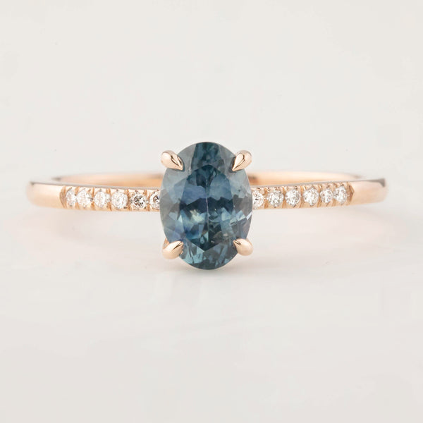 Audrey Ring - 1.07ct Montana Sapphire, 14k Rose Gold (One of a kind)