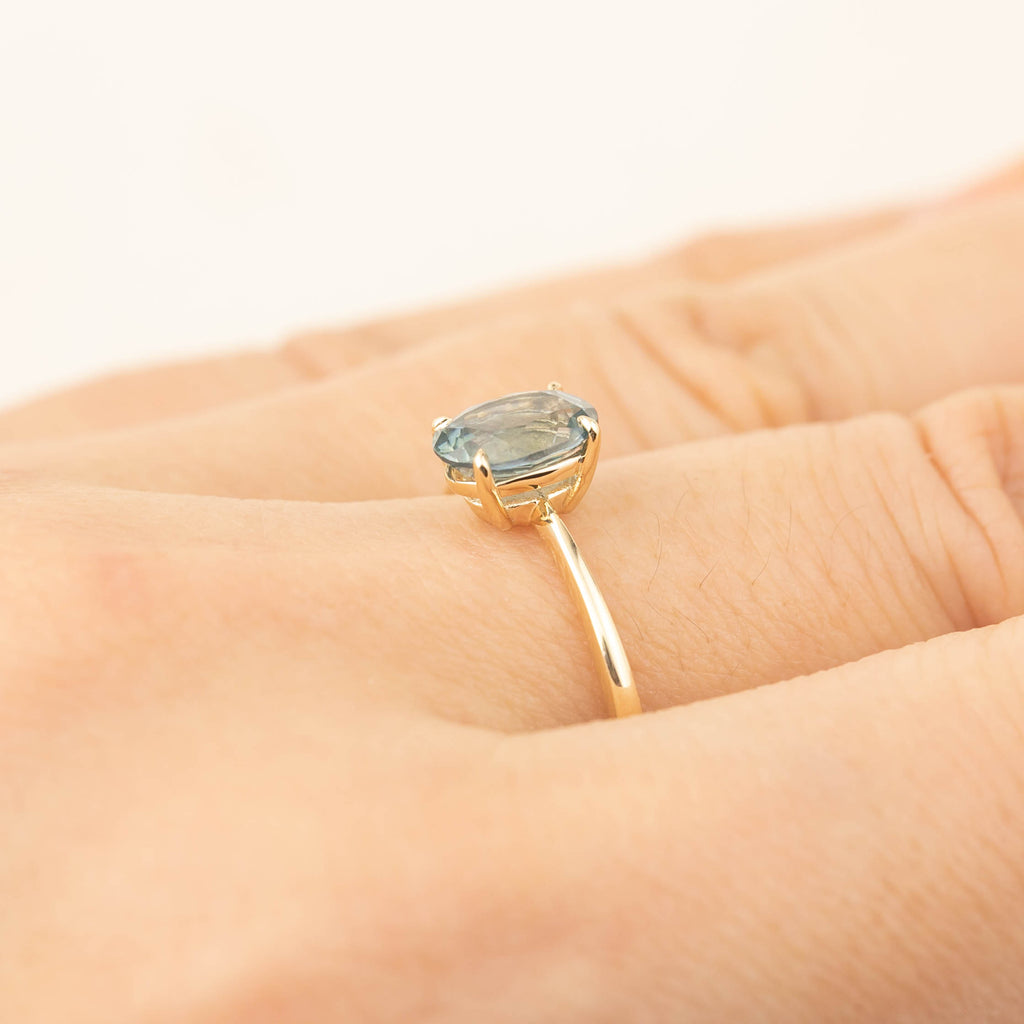 Nina Ring -1.24ct Light Teal Blue Montana Sapphire (One of a kind)