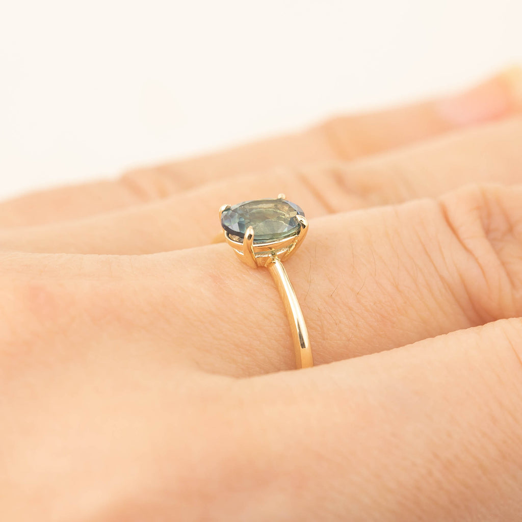 Nina Ring -1.29ct Parti Blue Green Montana Sapphire (One of a kind)