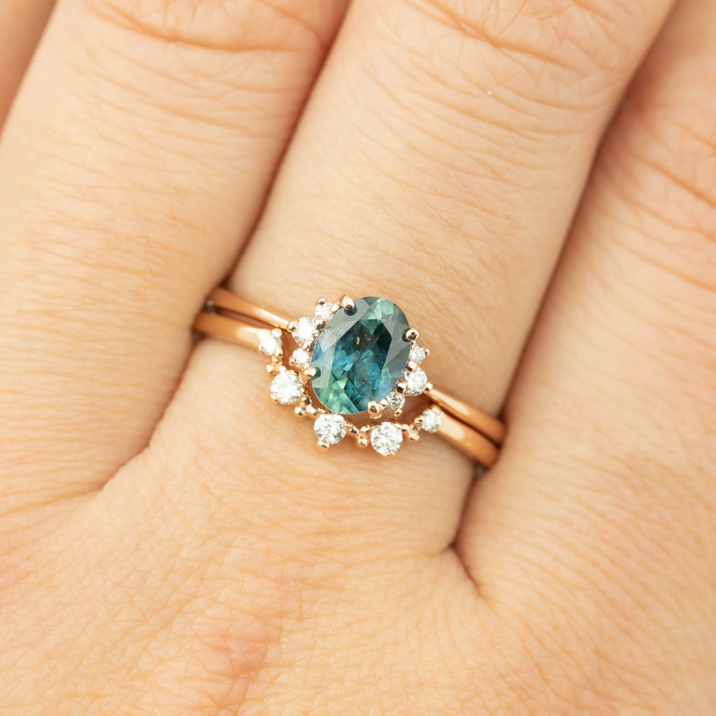 Lena Ring -1.00ct Parti Blue Green Sapphire, 14k Rose Gold (One of a kind)