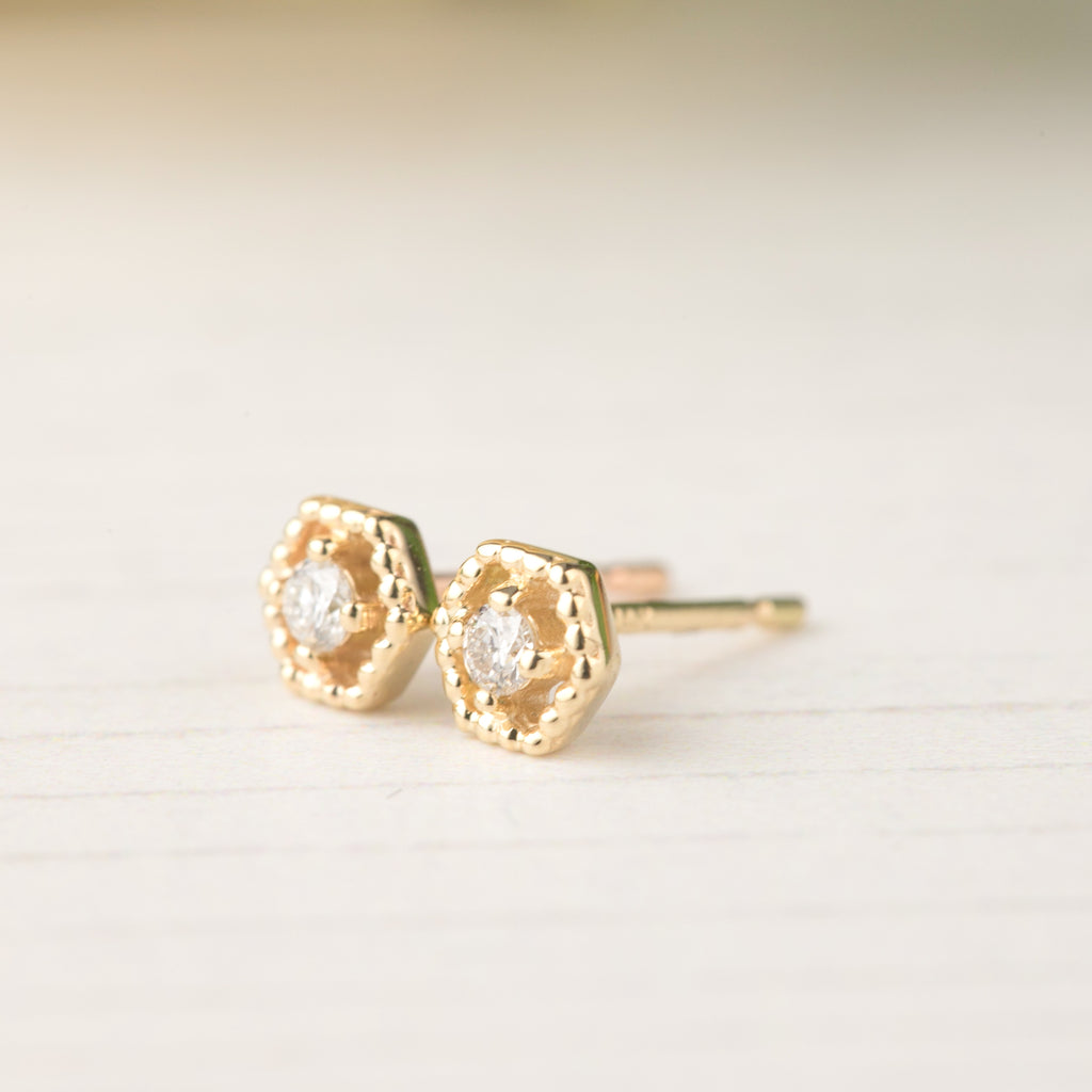 Milgrain Hexagon Diamond Studs
