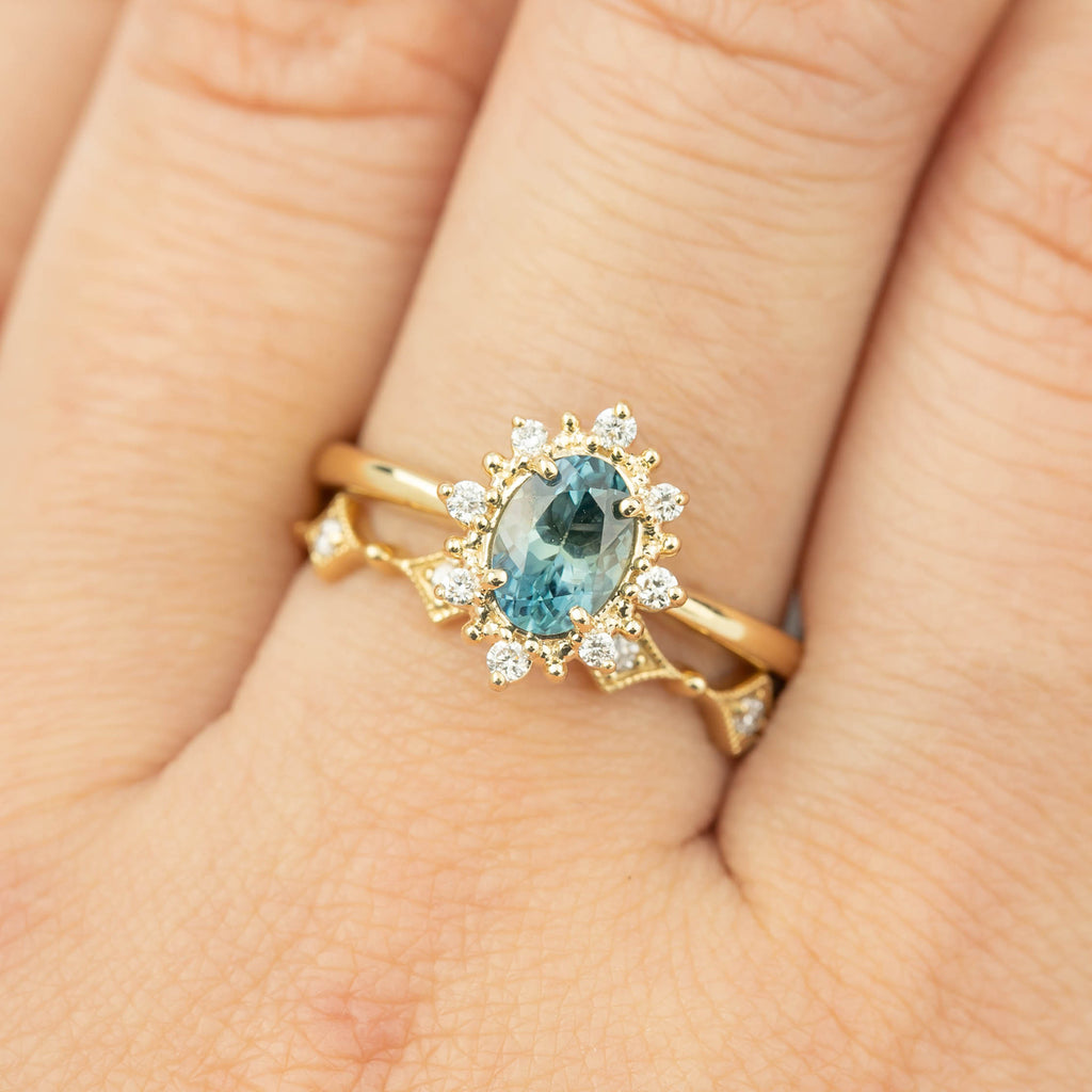 Victoria Ring - 0.97ct Light Aqua Blue Green Montana Sapphire (One of a kind)