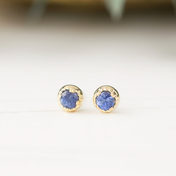 Dahlia Stud Earrings - Blue Sapphire