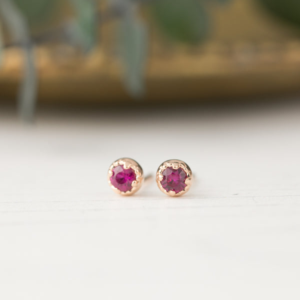 Dahlia Stud Earrings - Ruby