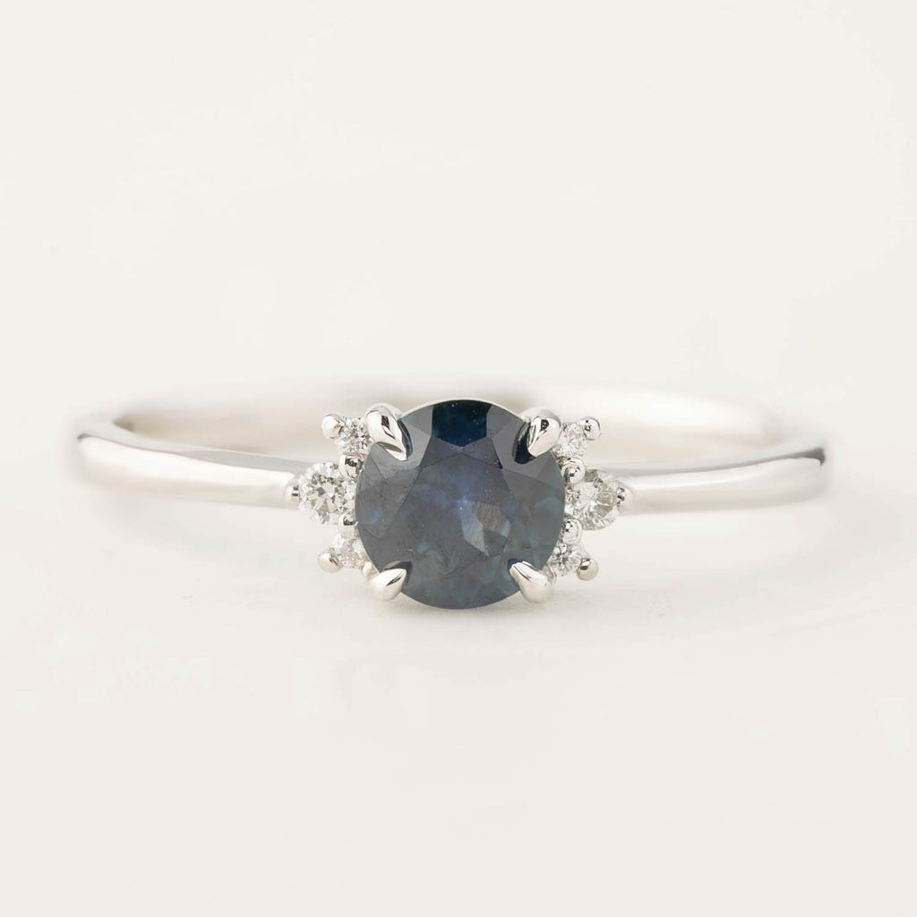 Lena Ring - 0.72ct Blue Montana Sapphire, 14k White Gold (one of a kind)