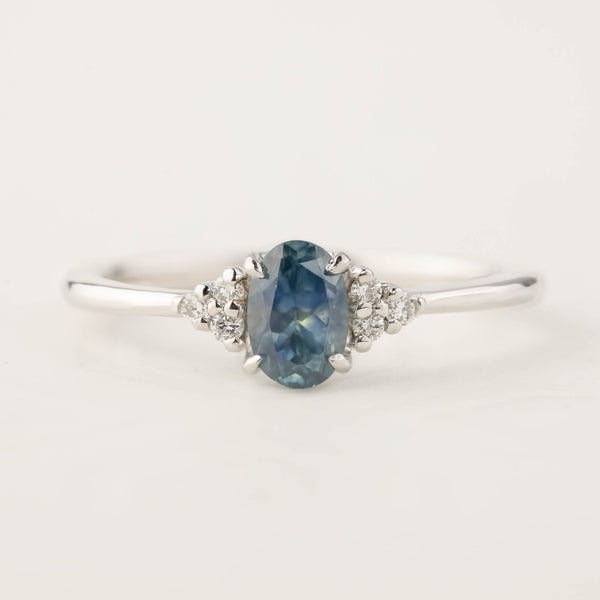 Teresa Ring - Blue Green Montana Sapphire, 14k White Gold (One of a kind)