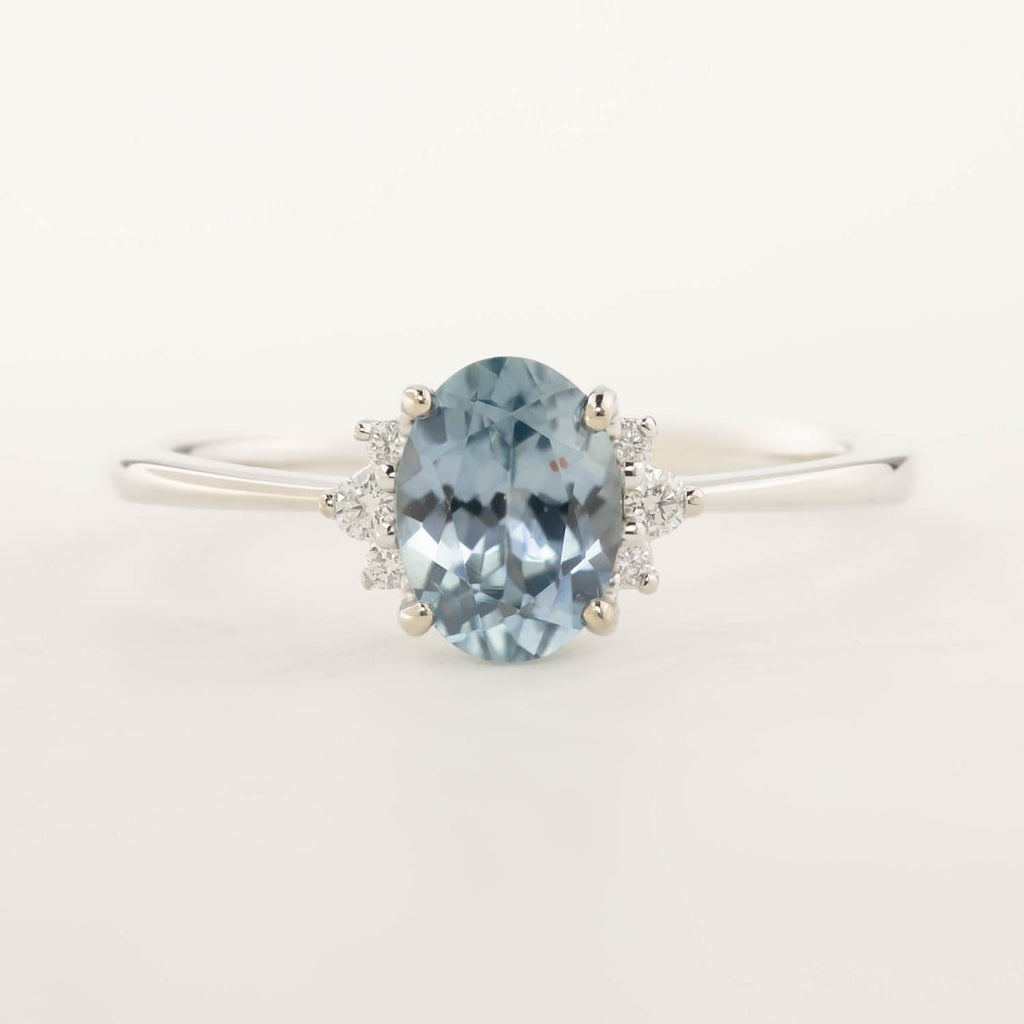 Lena Ring -1.06ct Montana Sapphire, 14k White Gold  (One of a kind)