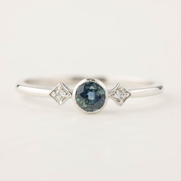 Star & Moon Ring - 0.37ct Queensland Sapphire, 14k white gold (One of a kind)