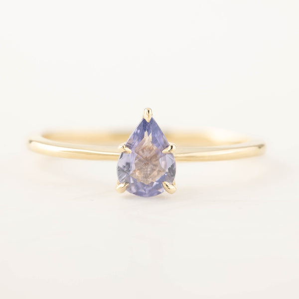 Sara Ring - Unheated Blue Teardrop Sapphire (One of a kind)