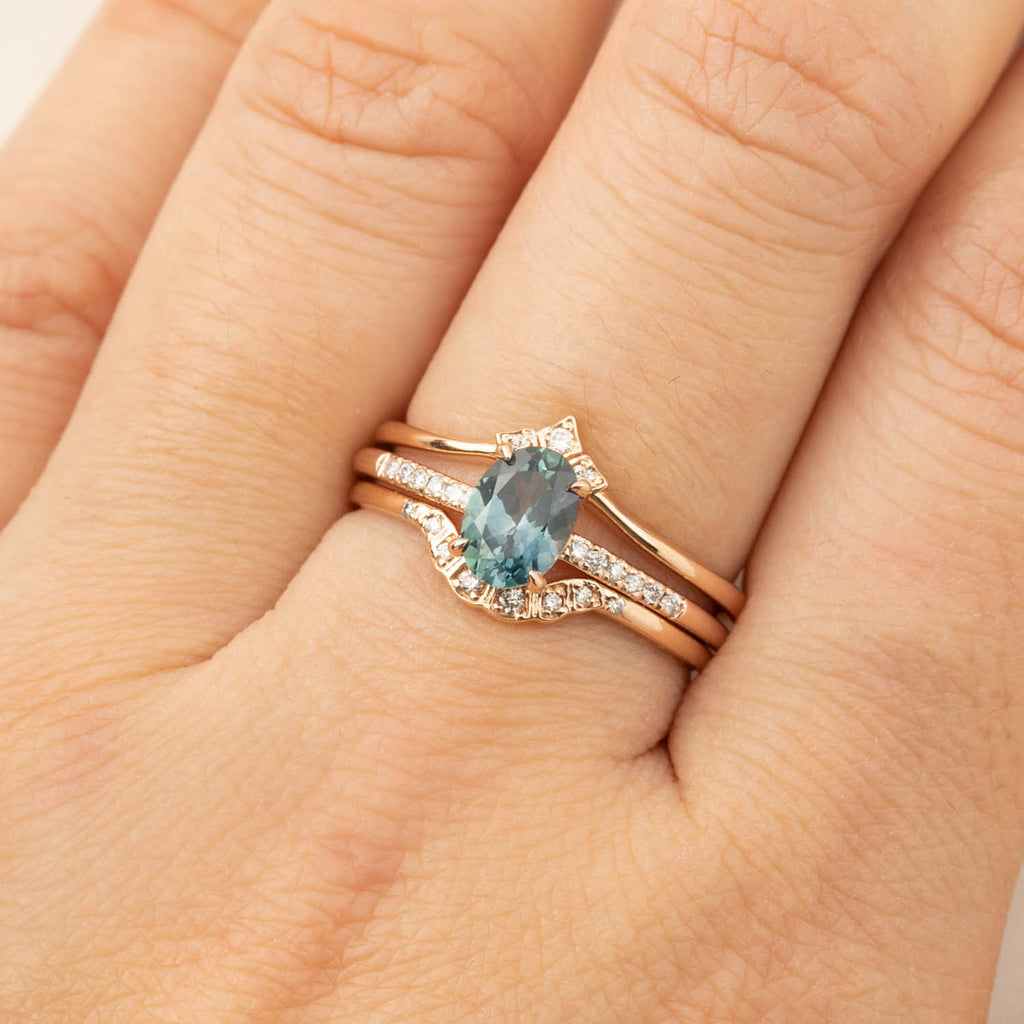 Audrey Ring - 1.21ct Blue-Green Montana Sapphire, 14k Rose Gold (One of a kind)