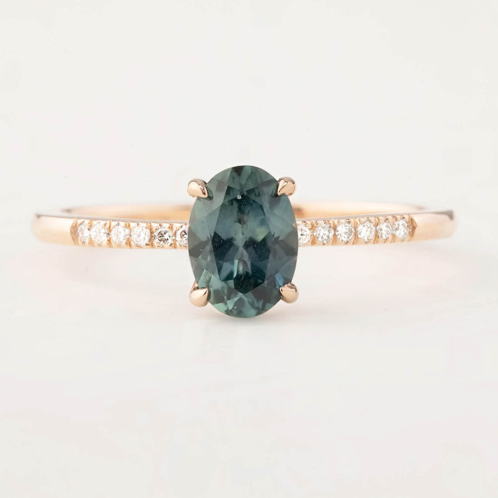 Audrey Ring - 1.02ct Montana Sapphire, 14k Rose Gold (One of a kind)