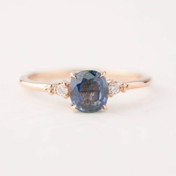 Estel Ring - 1.24ct Blue Sapphire, 14k Rose Gold (One of a kind)