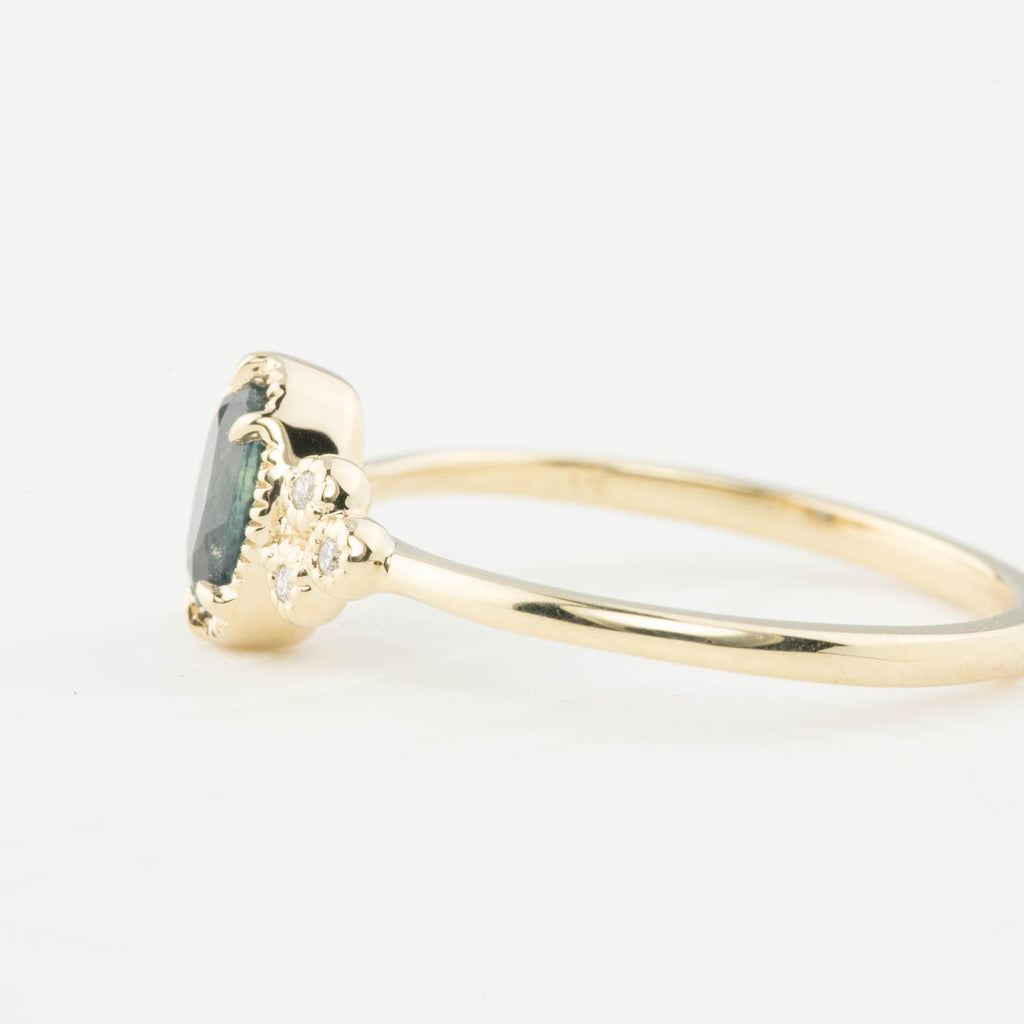 Celine Ring - 6mm Teal Blue Montana Sapphire (One of a kind)