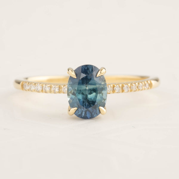 Audrey Ring - 1.44ct Blue-Green Montana Sapphire (One of a kind)