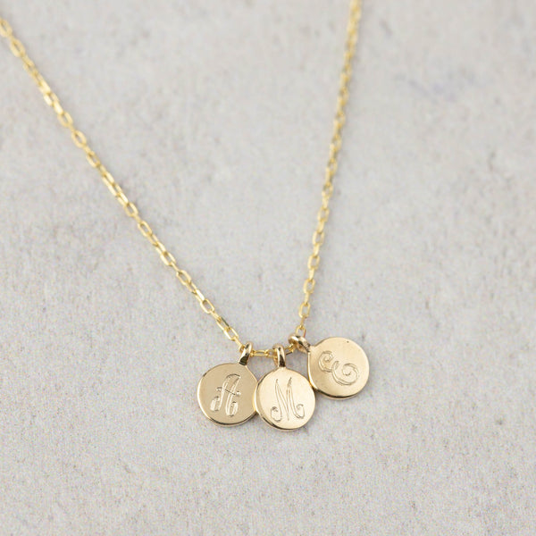 Mini Initial Disc Necklace & Birthstone Charm