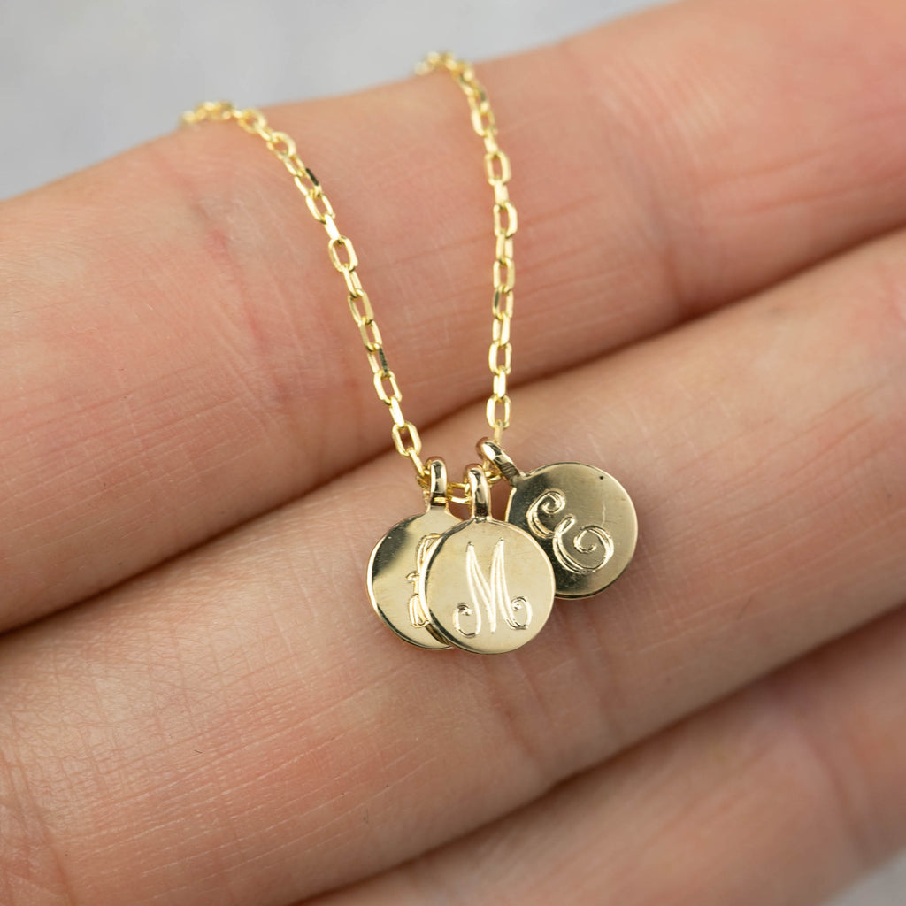 Mini Initial Disc Necklace with Birthstone Charm