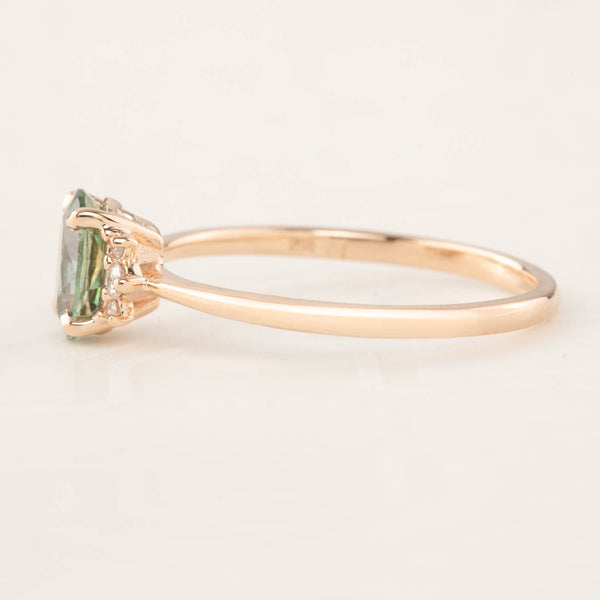Lena Ring -0.88ct Montana Green Sapphire, 14k Rose Gold  (One of a kind)