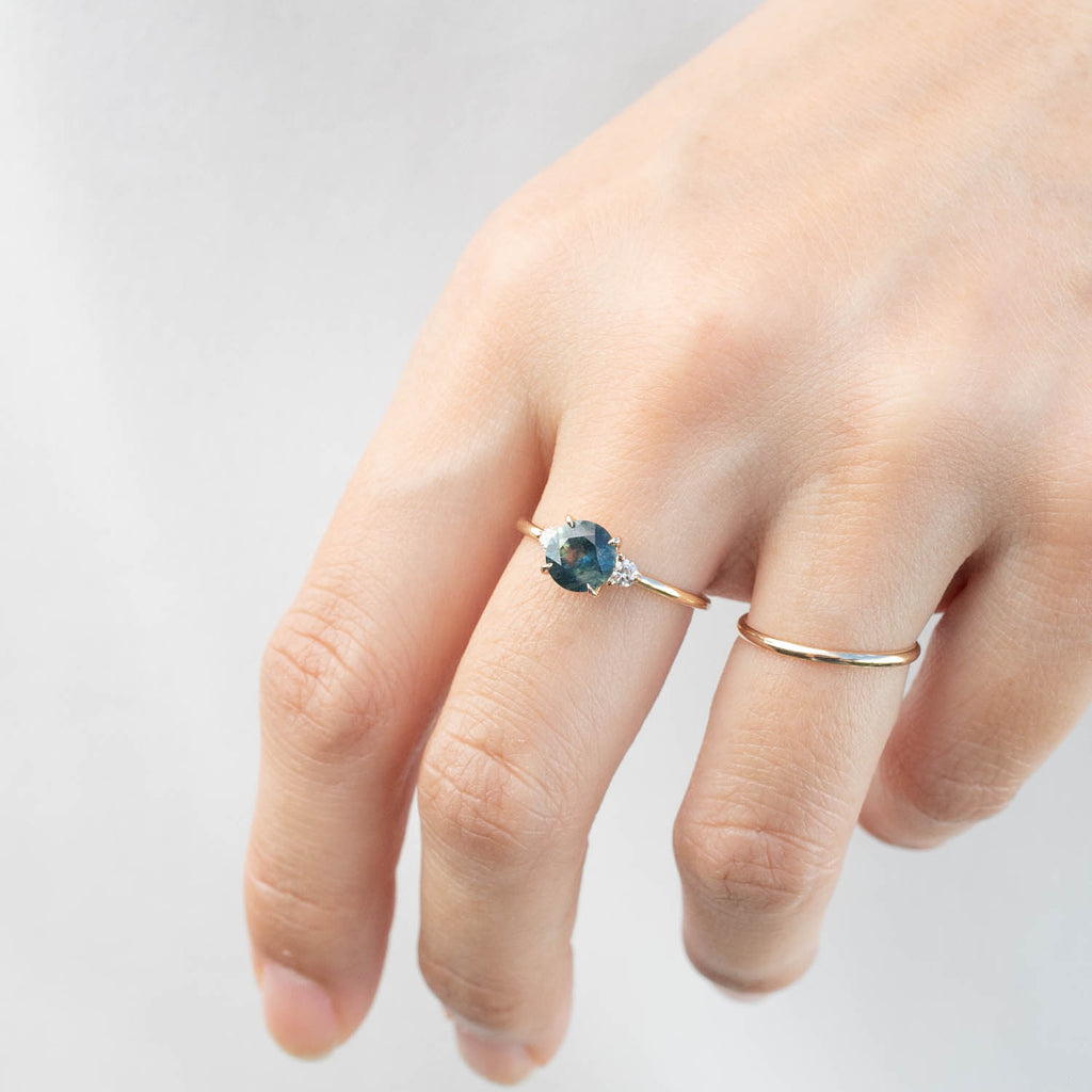 Emilie Ring - 1.31ct Blue-Green Montana Sapphire (One of a kind)