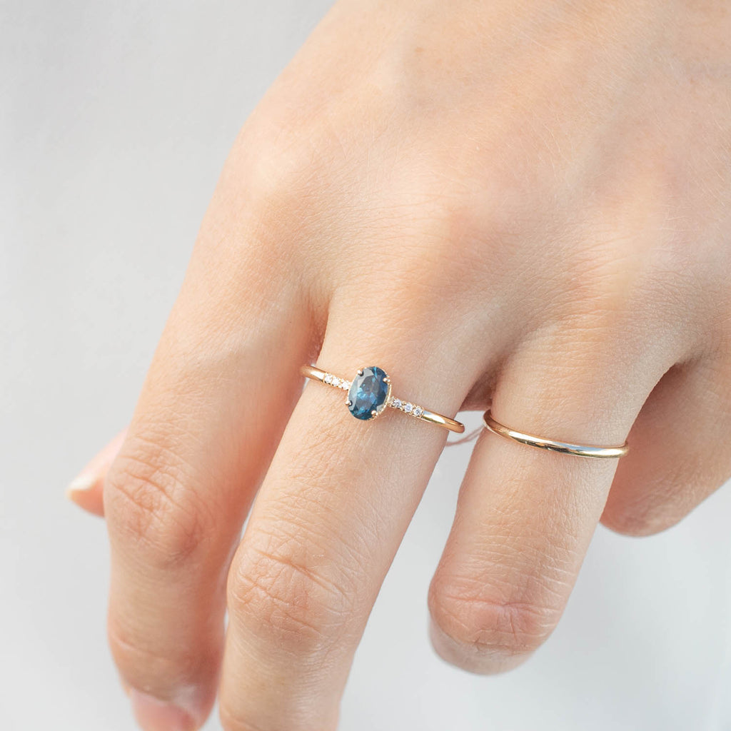 Grace Ring - 0.6ct Teal Blue Montana Sapphire (One of a kind)