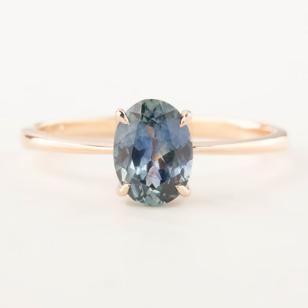 Nina Ring -1.22ct Teal Blue Montana Sapphire, 14k Rose Gold (One of a kind)