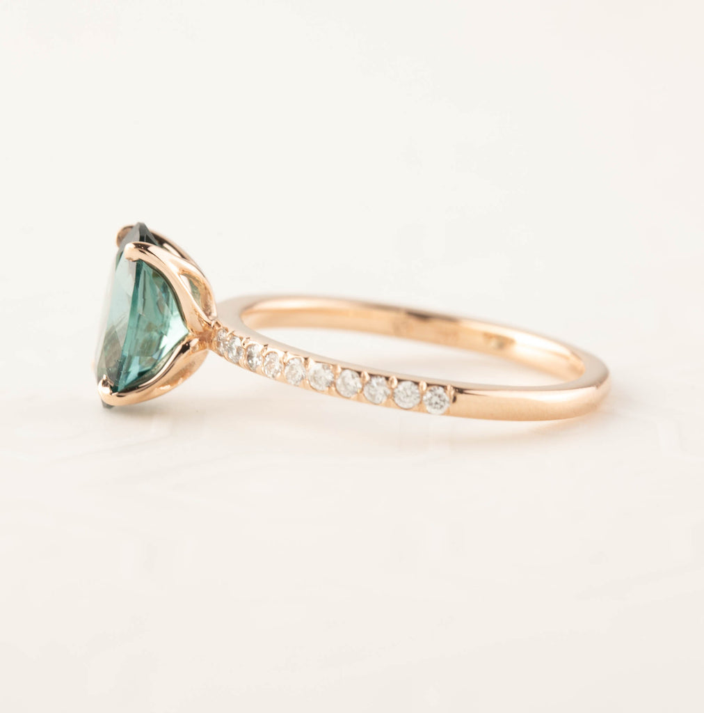 Maria Ring -  1.8ct Green Tourmaline, 14k Rose Gold (One of a kind)