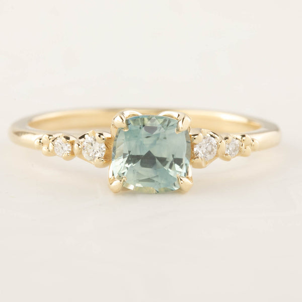 Estel Ring - 1ct Cushion Cut Light Green Sapphire (One of a kind)