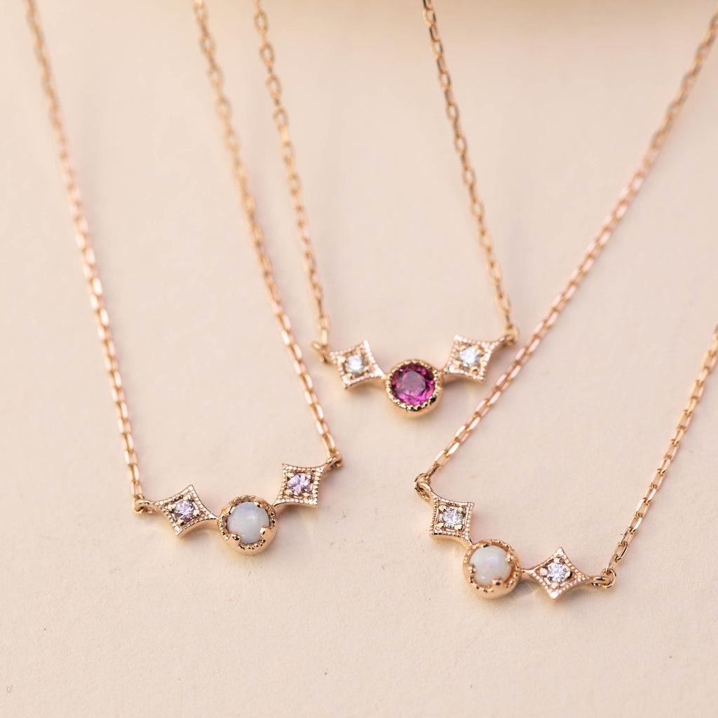 Moon & Star October Birthstone Necklace (Opal & Pink Tourmaline)