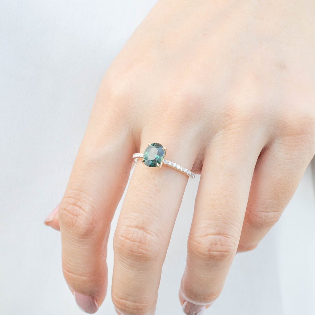 Maria Ring - 1.65ct Peacock Green Sri Lankan Sapphire (One of a kind)