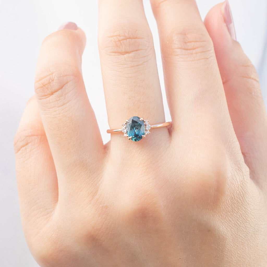 Lena Ring -1.29ct Parti Teal Blue Green Montana Sapphire (One of a kind)