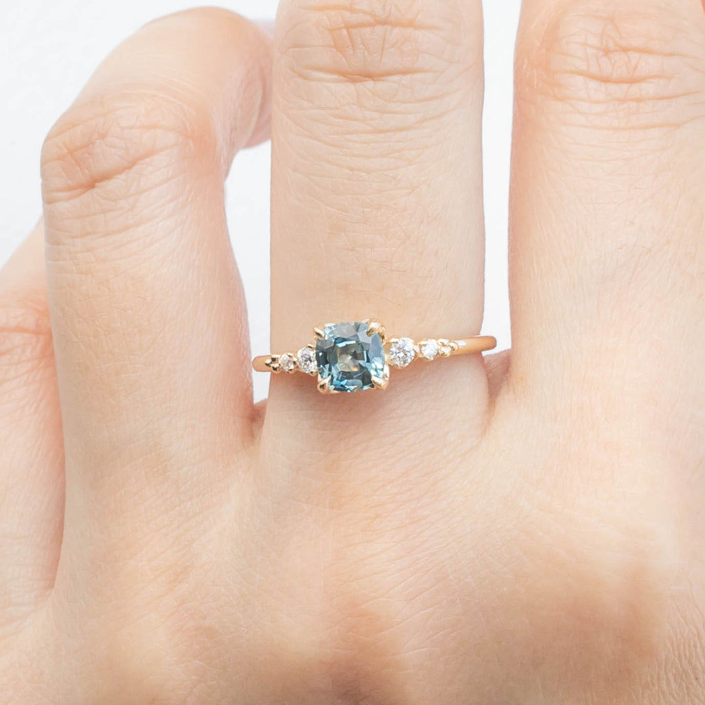 Estel Ring - 0.92ct Cushion Cut Light Blue Sapphire (One of a kind)