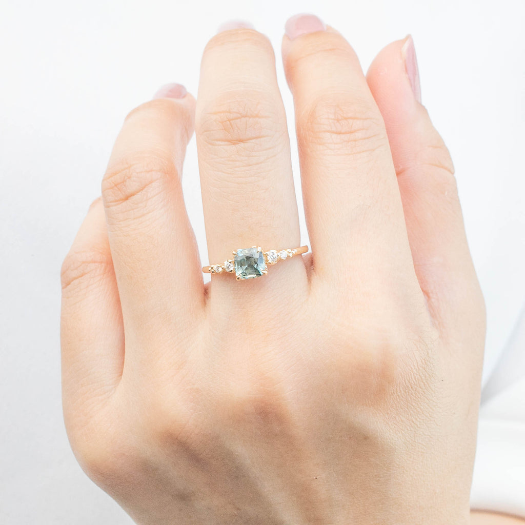 Estel Luxe Ring - 1ct Cushion Cut Light Green Sapphire (One of a kind)