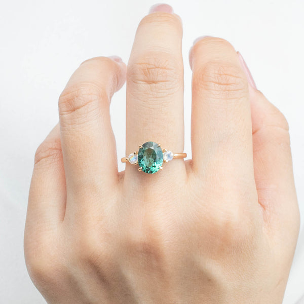 Emilie Ring - 2.09ct Green Tourmaline & Moonstone (One of a kind)