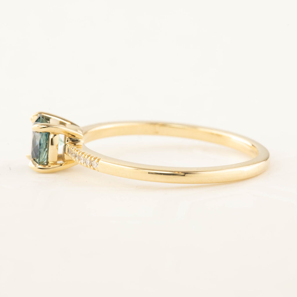 Audrey Ring - 0.75ct Teal Blue Montana Sapphire (One of a kind)