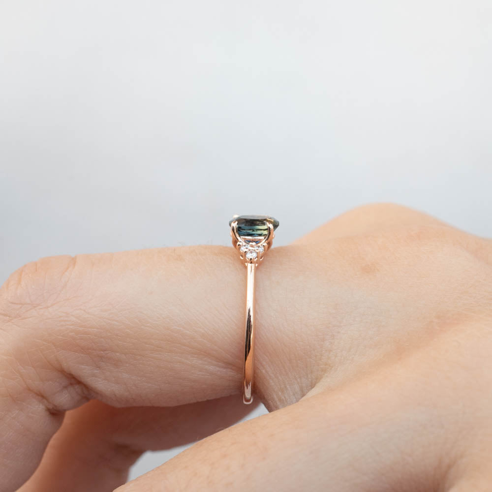 Teresa Ring - 0.73ct Teal Blue Queensland Sapphire, 14k Rose Gold (One of a kind)