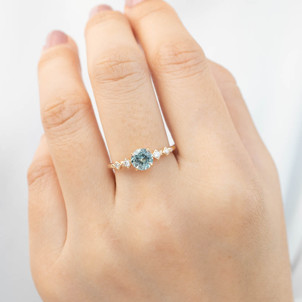 Celeste Ring - 1.1ct Light Green Montana Sapphire (one of a kind)