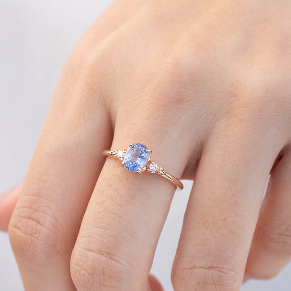 Estel Ring - 1.03ct Ceylon Blue Sapphire, 14k Rose Gold (One of a kind)